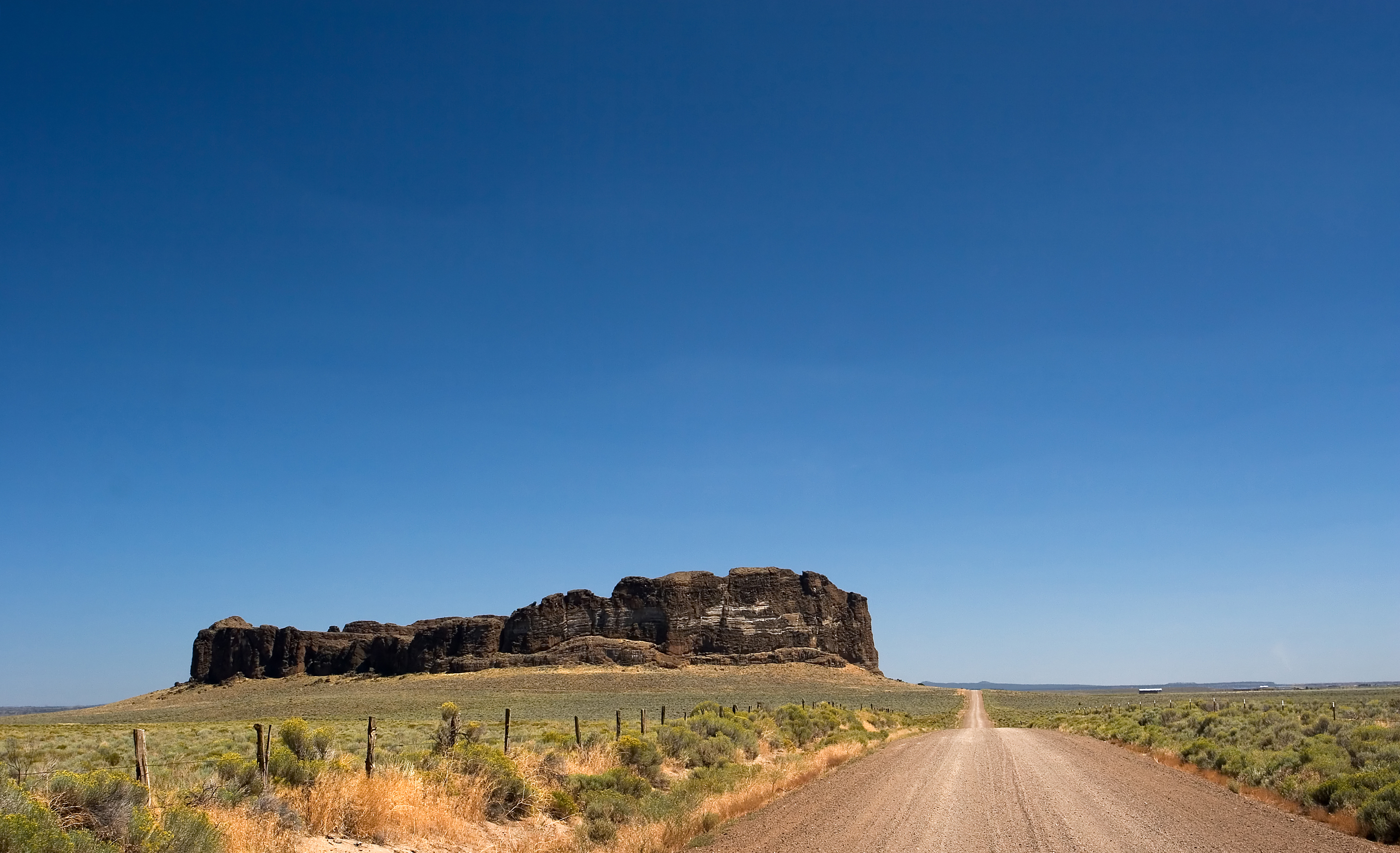 Photo of the blown out crater of Fort Rock State Park, near Bend, Oregon, USA