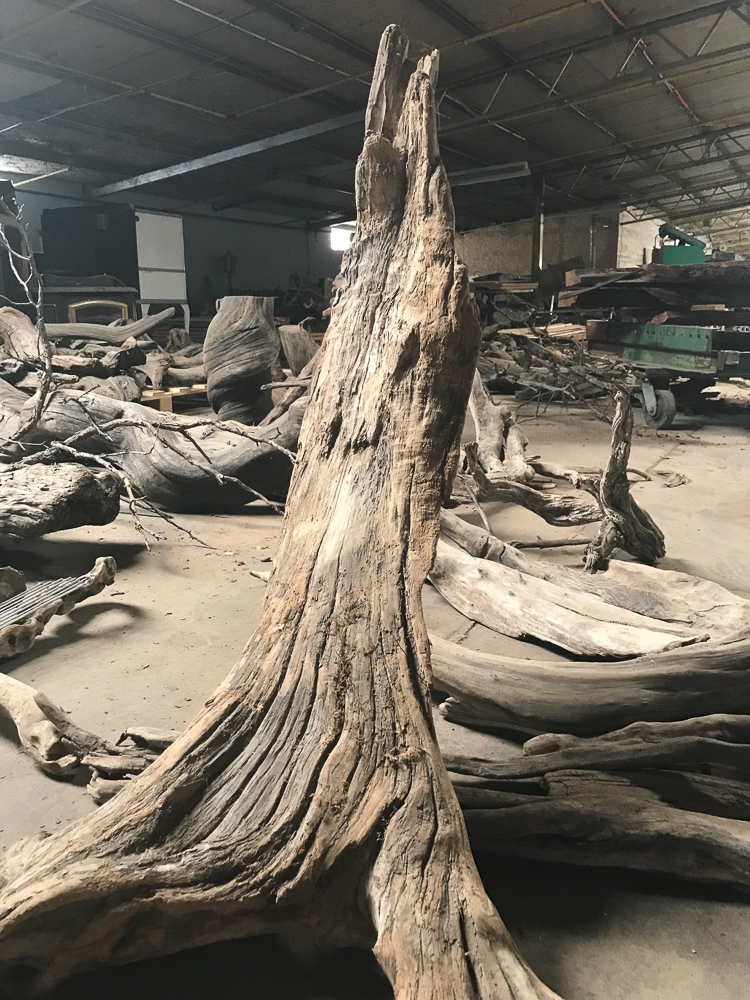 Reclaimed redwood logs
