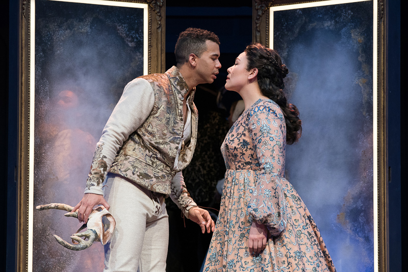 William Thomas Hodgson, Emily Ota. Romeo and Juliet (2018). Directed by Dámaso Rodríguez Scenic Design: Efren Delgadillo, Jr. Costume Design: Leah Piehl. Lighting Design: Tom Ontiveros. Composer / Sound Design: Rodolfo Ortega. Dramaturg: Tiffany Ana López. Voice and Text DirectorRebecca Clark Carey. Sign Coach/VGC Interpreter: Kalen Feeney. Movement and Intimacy Director: Sarah Lozoff. Fight Director: U. Jonathan Toppo. Production Stage Manager: D. Christian Bolender. Photo: Jenny Graham.